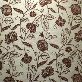 Marseille - Chocolat - Floral and leaf patterned viscose, polyester and cotton fabric in very dark brown and silver