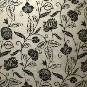 Marseille - Noir - Black and silver coloured viscose, polyester and cotton blend fabric with a pattern of flowers and simple leaves