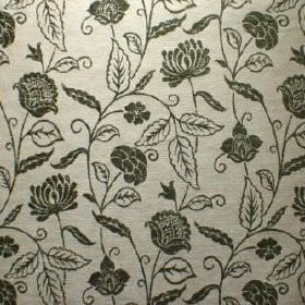 Marseille - Vert - Viscose, polyester and cotton blended together to form this silver and dark green coloured, floral patterned fabric