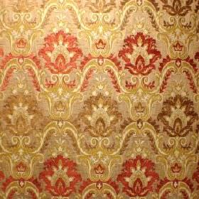 Hathaway - Burnt Gold - Brown, cream, gold and red coloured fabric blended from polyacrylic, viscose and polyester, with a busy, repeated de
