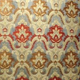 Hathaway - Verona Blue - Patterned red, cream, gold and light blue fabric made from a mix of polyacrylic, viscose and polyester