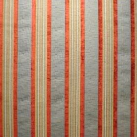 Helena - Verona Blue - Burnt orange, off-white, beige and blue-grey polyacrylic, viscose and polyester blended together into a striped fabri
