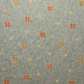 Rosalind - Verona Blue - Small orange-red, gold and cream shapes patterning light blue fabric made from polyacrylic, viscose and polyester