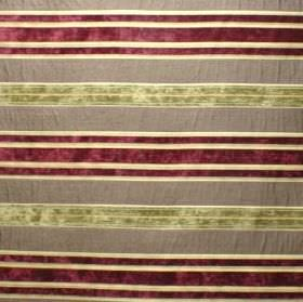 Alexandria - Shiraz - Striped fabric made from polyester, cotton, polyacrylic and viscose, in lime green, deep red, cream and brown