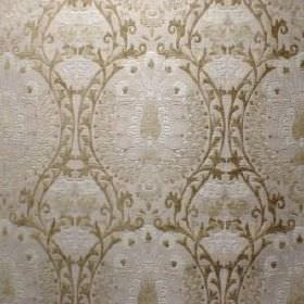 Isfahan - Corn Silk - Fabric with a polyacrylic, viscose and polyester blend, and a subtle, ornate pattern in pale shades of cream, grey and gre