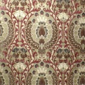 Isfahan - Damson - A very busy ornate, repeated pattern in shades of cream, brown and red, on polyacrylic, viscose and polyester blend fabric