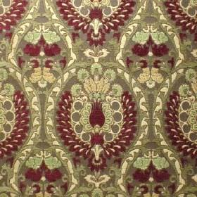 Isfahan - Shiraz - Polyacrylic, viscose and polyester blend fabric in maroon and shades of green, with a very busy, ornate repeated pattern