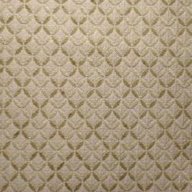 Tabriz - Corn Silk - Cream and dark green small, pointed ovals patterning a beige polyacrylic, polyester and viscose blend fabric background