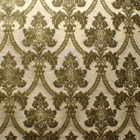 Canterbury - Fern Green - Cream coloured polyacrylic, polyester and cotton blend fabric patterned with a repeated design in forest green