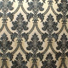 Canterbury - Foxglove Blue - Ornate dark blue designs repeatedly patterning pale yellow-cream fabric made from polyacrylic, polyester and co