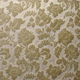 Suffolk - Almond Blossom - Floral patterned polyacrylic, polyester and cotton blend fabric in light grey and green-grey