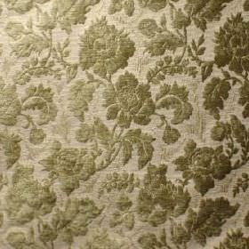 Suffolk - Fern Green - Slightly textured florals on a background of cream-grey coloured fabric blended from polyacrylic, polyester and cotto