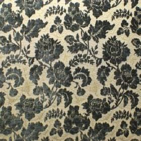 Suffolk - Foxglove Blue - Polyacrylic, polyester and cotton blended into a fabric in light yellow-cream, patterned with dark blue-black flor