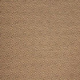 Mallorca Ranma - Pewter - Dark brown lines making up a geometric design on cotton, viscose and polyester blend fabric in a caramel colour