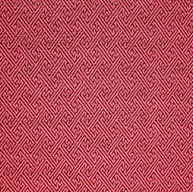 Mallorca Ranma - Rhubarb - Dark red and pink making up a geometric line design on fabric made from a combination of cotton, viscose and poly