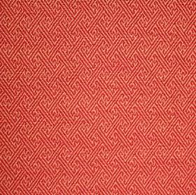 Mallorca Ranma - Ripple - Cotton, viscose and polyester blend fabric in two similar shades of orange-red patterned with lines in a geometric