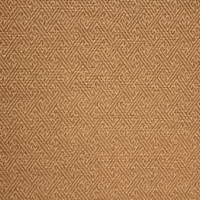 Mallorca Ranma - Stone - Gold coloured cotton, viscose and polyester blend fabric covered in a subtle light brown geometric print design