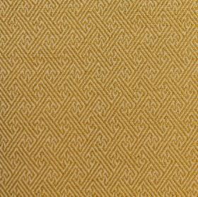 Mallorca Ranma - Citrus - A subtle geometric print pattern on gold coloured fabric made from cotton, viscose and polyester