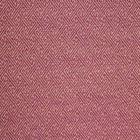 Mallorca Ranma - Damson - Light pink cotton, viscose and polyester blend fabric patterned with a subtle purple geometric print design