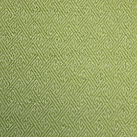Mallorca Ranma - Lettuce - Geometric patterns in green on a light, bright green cotton, viscose and polyester blend fabric background