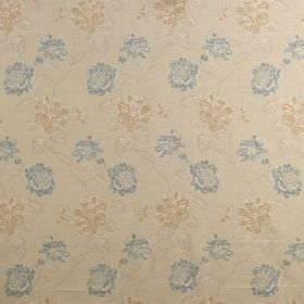 Kedleston - Alice Blue - Subtle light blue and light brown florals on a cream coloured viscose, polyester and cotton blend fabric background