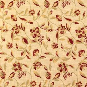Tantallon Wild Berry - Arundel - Flowers, leaves and swirling vines shaded in gold and dark red on light gold coloured viscose and polyester