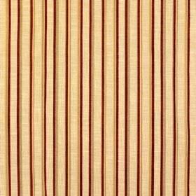 Tantallon Wild Berry - Keswick - Vertically striped fabric made from a combination of gold, cream and dark red coloured viscose, polyester a