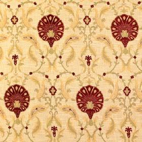Tantallon Wild Berry - Sandringham - Light cream-yellow coloured fabric with a viscose, polyester and cotton mix, behind dark red flowers an