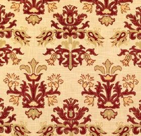 Tantallon Wild Berry - Tantallon - An ornate pattern in gold and dark red on a light yellow-cream fabric background made from viscose, polye