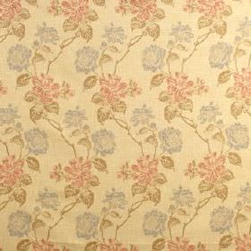 Kedleston - Chintz - Light yellow fabric blended from viscose, polyester and cotton, with rows of flowers in light blue, pink and green