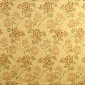 Kedleston - Harvest - Pale shades of brown, pink & grey making up a repeated floral design on yellow viscose, polyester & cotton blend fabri
