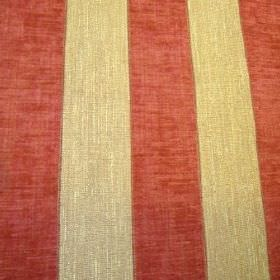 Byron - Brick - Terracotta and gold striped viscose, polyacrylic and modacrylic blend fabric