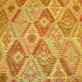 Kipling - Earth - Pale pink, bright yellow, burnt orange and gold Aztec style patterns on viscose, polyacrylic and modacrylic blend fabric