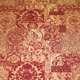 Wordsworth - Brick - Viscose, polyacrylic and modacrylic blend fabric in cream, printed with a mixture of random, busy patterns in dark red