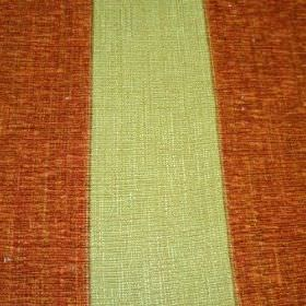Byron - Earth - Viscose, polyacrylic and modacrylic blend fabric with a striped design in pale green and burnt orange