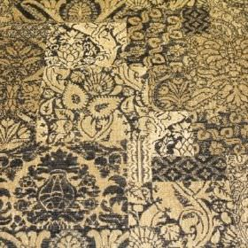 Wordsworth - Granite - Very pale yellow fabric blended from viscose, polyacrylic and modacrylic, with a selection of random dark grey patter