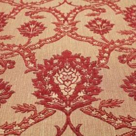 Eliot - Brick - Ornately patterned red, cream and very pale orange coloured viscose, polyacrylic and modacrylic blend fabric
