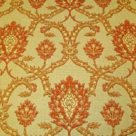 Eliot - Earth - Viscose, polyacrylic and modacrylic blended into a light yellow-green fabric with an ornate gold and burnt orange design