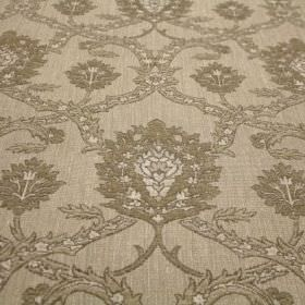 Eliot - Sand - Fabric with a viscose, polyacrylic and modacrylic blend and an ornate pattern in several different shades of beige