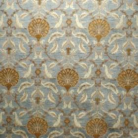 Ottoman - Blue Walnut - Fabric made from light blue, cream and gold blended viscose and polyester, with a pattern of round flowers and leave