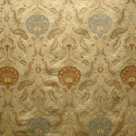 Ottoman - Hazelwood - Silver and various shades of gold making up a pattern of leaves and round flowers on viscose and polyester blend fabri