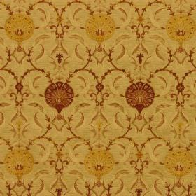 Ottoman - Spice - Dark red and mustard yellow coloured round flowers patterning yellow-green coloured fabric made from viscose and polyester