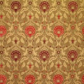 Ottoman - Wild Berry - Viscose and polyester blend fabric in light brown with cream-gold leaves and round flowers in bright orange and dark