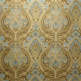 Persia - Aqua Marine - Viscose and polyester blend fabric with a busy, ornate pattern in cream-gold and ice blue