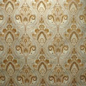 Persia - Blue Walnut - Light silver and dark gold-brown colours for the detailed, ornate pattern on this viscose and polyester blend fabric
