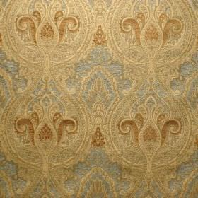 Persia - Hazelwood - Ornately patterned silver and gold coloured fabric made from a combination of viscose and polyester