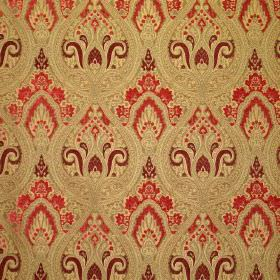 Persia - Wild Berry - An ornate pattern in bright red, dark red and gold on fabric blended from a mixture of viscose and polyester