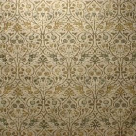 Tixall - Brocton - A small, elaborate, repeated dark green and gold leaf pattern on a cream viscose and polyester blend fabric background