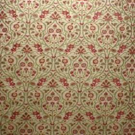 Tixall - Abbey - Champagne coloured viscose and polyester blend fabric repeatedly patterned with a small red and light green leaf design