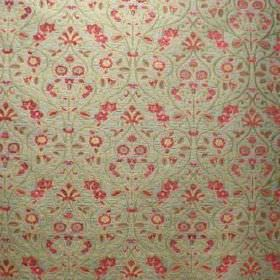 Tixall - Walton - Red and pale green patterned fabric made from a combination of viscose and polyester